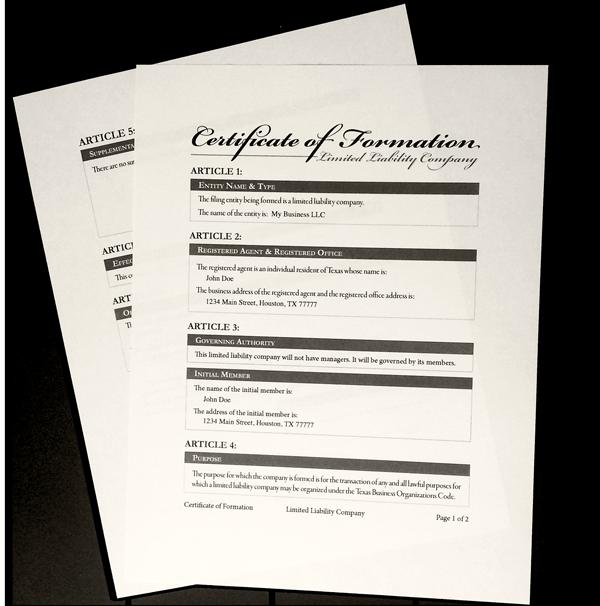 Legal Self Help: Sample LLC Certificate Of Formation