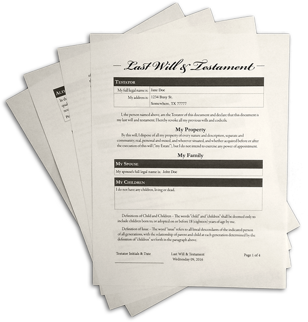Legal Self Help: Sample Last Will And Testament: Self-Help Form