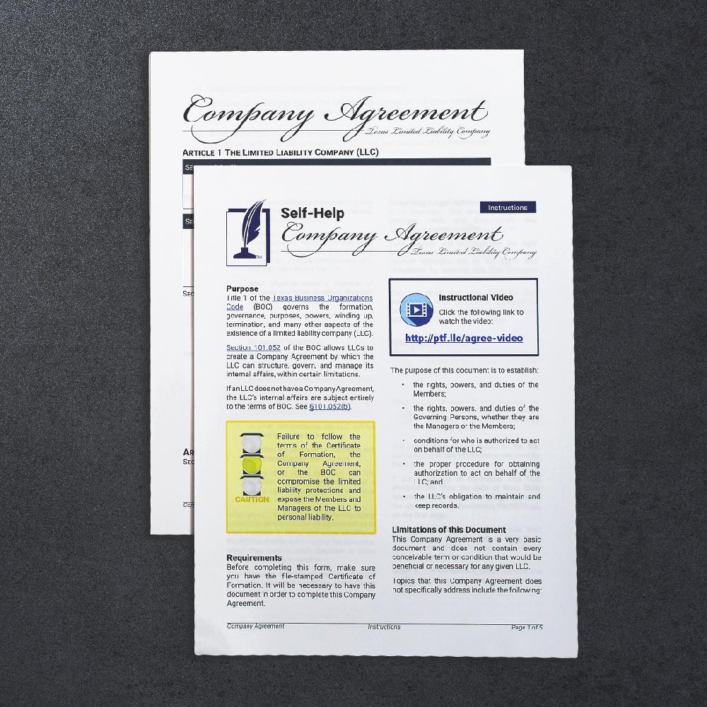 Llc Company Agreement Texas Only Paul T Freeman