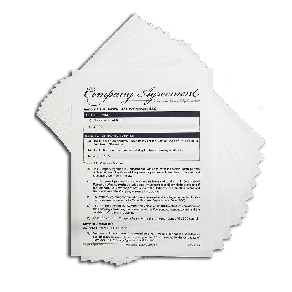LLC Company Agreement (Texas Only)